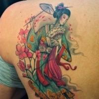 Cute looking colored scapular tattoo of geisha with flowers