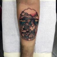 Cute multicolored nautical tattoo on arm
