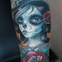 Cute new style santa muerte tattoo