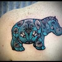 Patchwork nettes blaues Flusspferd Tattoo