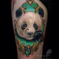 Cute realism style colored thigh tattoo of panda bear head