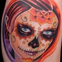 Cute redhead santa muerte girl tattoo