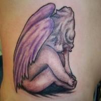 Tatuaggio grande sulla schiena l'angelo triste