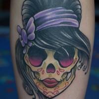 Cute sugar skull with black hair tattoo