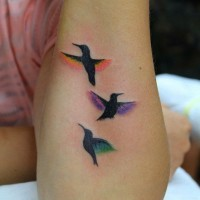 Cute three little birds forearm tattoo
