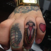 Cute tiny old school finger tattoo of ancient weapon