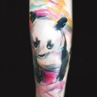 Cute watercolor panda forearm tattoo