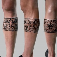 Dark black ink Aztec tribal style leg band pattern tattoo