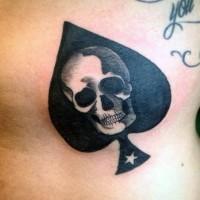 Tatuaje  de pica simple decorado con cráneo y estrella diminuta
