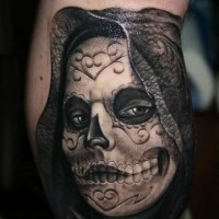 Dark creepy day of the dead tattoo