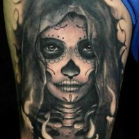 Dark grim day of the dead tattoo