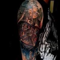 Tatuaje en el brazo, la guerra de las galaxias impresionante milticolor