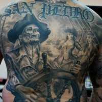 Dead pirate captain tattoo on back