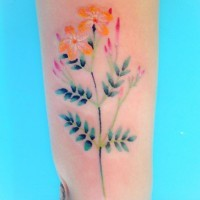 Delicate rainbow colored tender flower tattoo