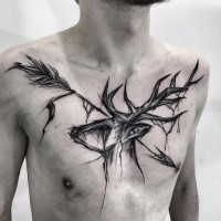 Designed by Inez Janiak black ink chest tattoo of deer with big arrow