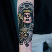 Detailed accurate painted colored tribal woman forearm tattoo