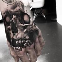 Detailed big hand tattoo of human skull