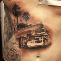 dettagliato macchina e palmi tatuaggio sulle costolette