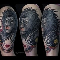 Detailed illustrative style shoulder tattoo of fantasy lion with heart