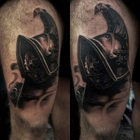 Detailed looking black and white thigh tattoo of gladiator helmet