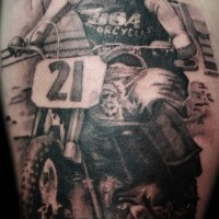 Detailed motorcycle rider tattoo