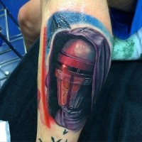 Detailed painted and colored leg tattoo of Star Wars soldier