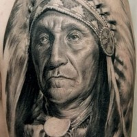 Detailed portrait of native american chief tattoo