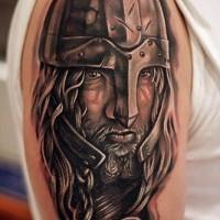 Detailed portrait of viking tattoo on half sleeve