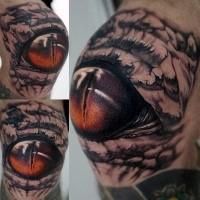 Detailliertes im Realismus Stil farbiges Knie Tattoo mit Alligator Auge