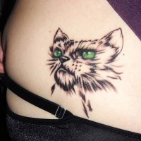 Tatuaje De Gato Enojado Con Ojos Verdes Increíbles Tattooimagesbiz