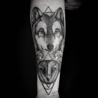 Dot style accurate looking forearm tattoo of wolf combined with owl