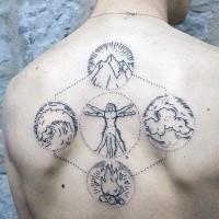 Estilo de punto increíble aspecto del hombre de Vitruvio combinado con cuatro elementos de la naturaleza