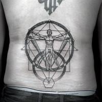 Tatuaggio con la parte bassa della schiena in stile dot di strano uomo vitruviano
