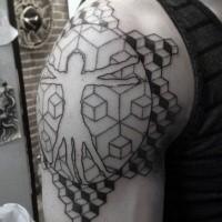 Dot style big shoulder tattoo of Vitruvian man with geometrical figures