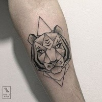 Dot style black ink forearm tattoo of tiger head with triangles