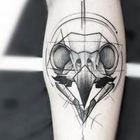 Dot style black ink tattoo of animal skull