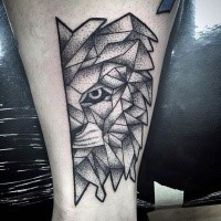 Dot style black ink tattoo of lion head half