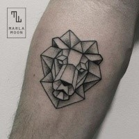 Dot style black ink tattoo of stone like lion head