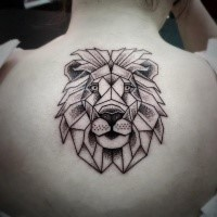 Dot style black ink upper back tattoo of lion head