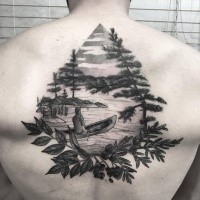 Dot style black ink upper back tattoo of man in small boat combined with leaves and trees