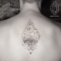 Dot style black ink upper back tattoo of rhombus with planes and stars