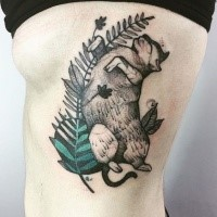 Dot style colored painted by Joanna Swirska side tattoo of cat with feather