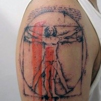 Dot style fantastic looking upper arm tattoo of Vitruvian man with red lines