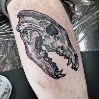 Dot style medium size leg tattoo of big animal skull