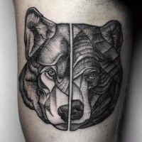 Dot style old looking separated tattoo of wolf and bear heads