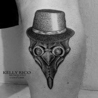 Dot style small leg tattoo of plague doctor with hat