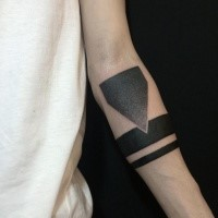 Dotwork style big geometrical ornament on forearm