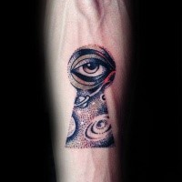 Dotwork style colored forearm tattoo of keyhole stylized with space and human eye