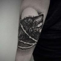 Dotwork style medium size black ink arm tattoo of wolf head