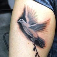 Dove bird tattoo on leg